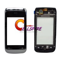 Nokia Asha 308 Digitizer Touch Screen With Front Panel - Silver